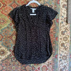 H&M polka dot pin-tuck blouse